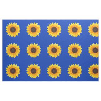 Autumn Beauty Sunflower on Blue III Combed Cotton Fabric