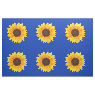 Autumn Beauty Sunflower on Blue IV Combed Cotton Fabric