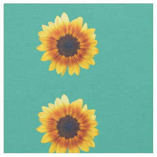 Autumn Beauty Sunflower on Teal Combed Cotton Fabric