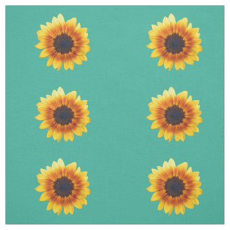 Autumn Beauty Sunflower on Teal I Combed Cotton Fabric