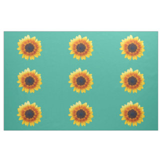 Autumn Beauty Sunflower on Teal III Combed Cotton Fabric