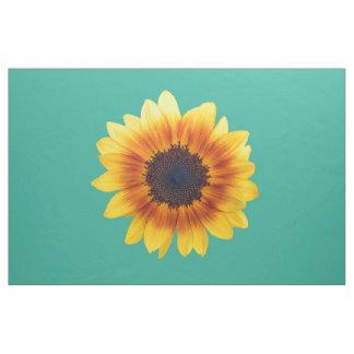Autumn Beauty Sunflower on Teal VI Combed Cotton Fabric
