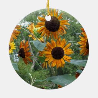 Autumn Beauty Sunflowers in the Garden Round Ceramic Decoration