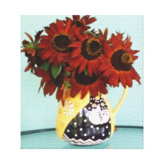 Autumn Beauty Sunflowers in Vase Canvas Prints