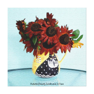 Autumn Beauty Sunflowers in Vase Gallery Wrap Canvas
