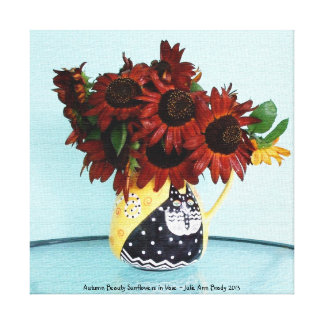 Autumn Beauty Sunflowers in Vase Stretched Canvas Prints