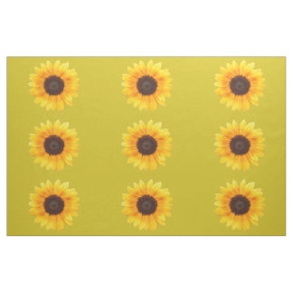 Autumn Beauty Sunflowers on Gold Combed Cotton Fabric
