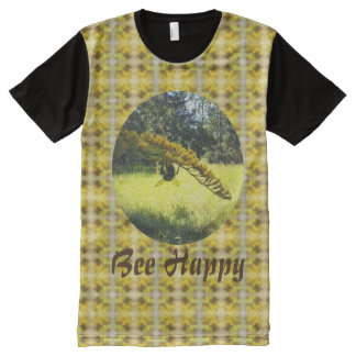 Autumn Bee Goldenrod Botanical Yellow Pattern All-Over Print T-Shirt