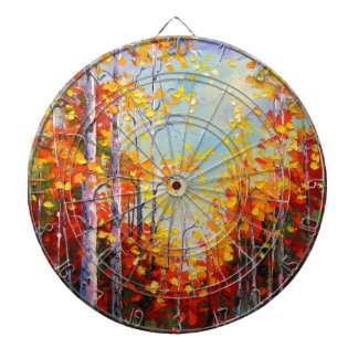 Autumn birches dartboard