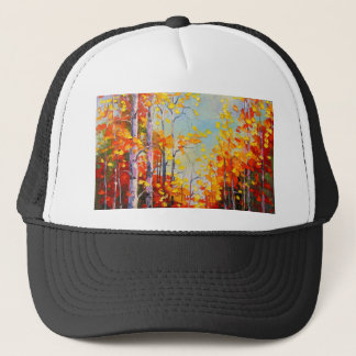 Autumn birches trucker hat