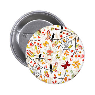 autumn birds 6 cm round badge