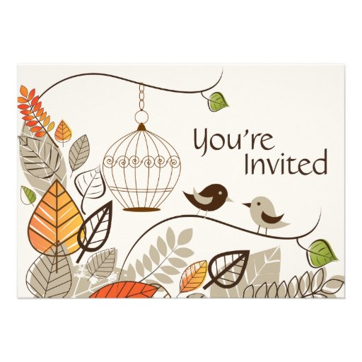 Autumn Birds and Leaves Casual Wedding Invitation