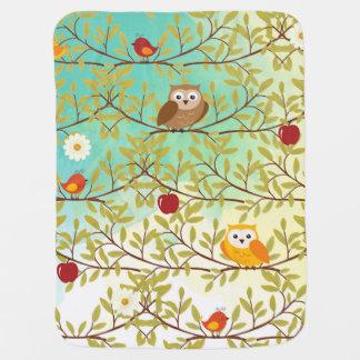 Autumn birds baby blanket