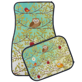 Autumn birds car mat