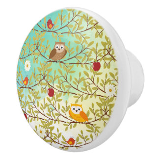 Autumn birds ceramic knob