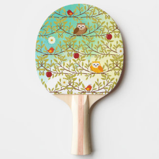 Autumn birds ping pong paddle