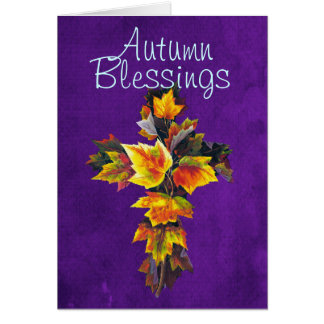 Autumn Blessings leaf cross Greeting Card