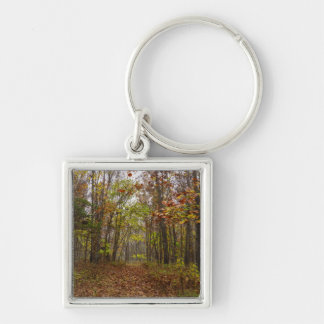 Autumn Bliss Silver-Colored Square Key Ring