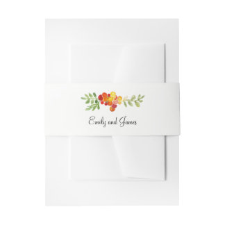 Autumn Blooms Fall Wedding Invitations Belly Band Invitation Belly Band