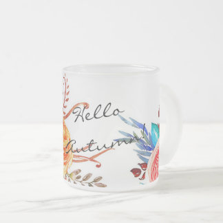 """Autumn Blooms"" Frosted Glass Holiday Mug"