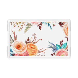"""Autumn Blooms"" Holiday Serving Tray"