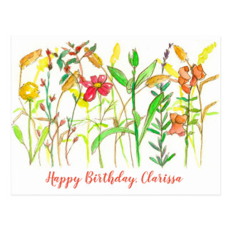 Autumn Botanical Flowers Happy Birthday Postcard