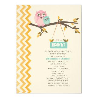Autumn Boy Baby Shower Mommy & Baby Owl Card