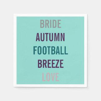 Autumn Bride Love Fall Tiffany Teal Blue Napkins Paper Napkins
