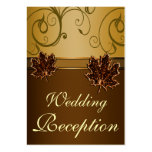Autumn Brown & Fall Gold Wedding Reception Cards Business Card Template
