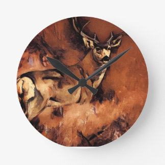 Autumn Buck Round Clock