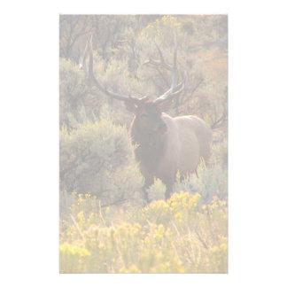 Autumn Bull Elk in Sagebrush Custom Stationery