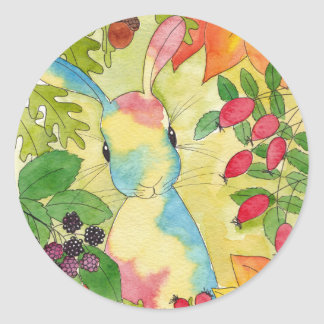 Autumn Bunny by Peppermint Art Classic Round Sticker
