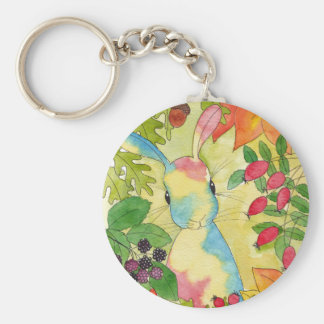 Autumn Bunny by Peppermint Art Key Ring