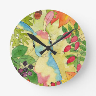 Autumn Bunny by Peppermint Art Round Clock