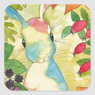 Autumn Bunny by Peppermint Art Square Sticker