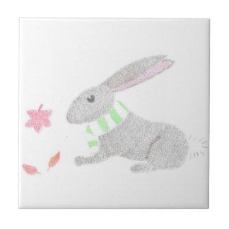 Autumn Bunny Ceramic Tile