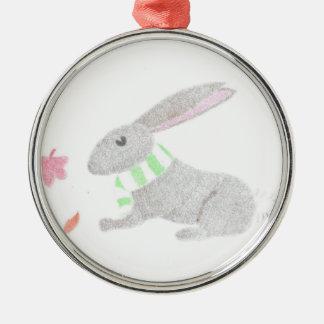 Autumn Bunny Silver-Colored Round Decoration