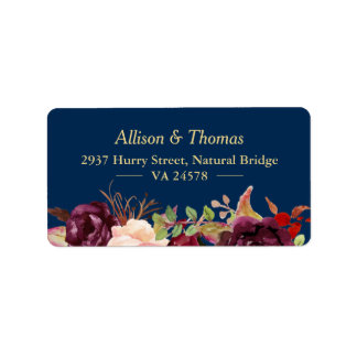 Autumn Burgundy Marsala Floral Navy Blue Wedding Address Label