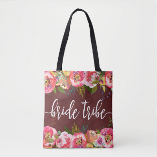 Autumn Burgundy Watercolor Floral Bride Tribe Tote Bag