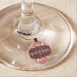 Autumn Burgundy Watercolor Floral Maid of Honor Wine Charm