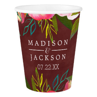 Autumn Burgundy Watercolor Floral Monogram Wedding Paper Cup
