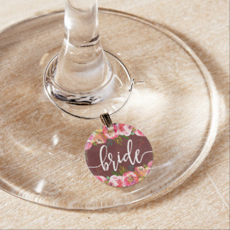 Autumn Burgundy Watercolor Floral Wedding Bride Wine Charm