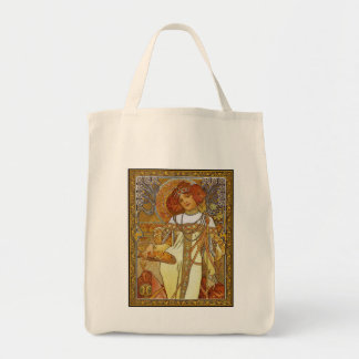 """""""Autumn"""" by Alphonse [Alfons]  Mucha Grocery Tote Bag"""