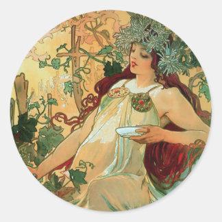 Autumn by Alphonse Mucha Art Nouveau Stickers