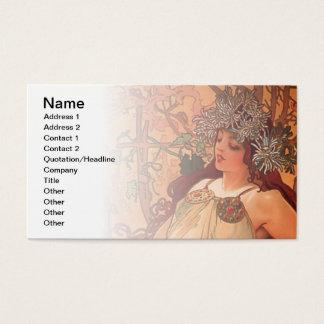 Autumn by Alphonse Mucha Business Card