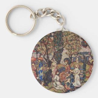 Autumn by Maurice Prendergast, Vintage Fine Art Basic Round Button Key Ring