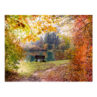 Autumn by the Park Pond - Fall Leaves Postcard
