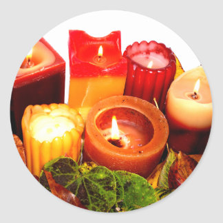 Autumn Candle and Leaf Arrangement Classic Round Sticker