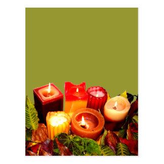 Autumn Candle and Leaf Arrangement Postcard