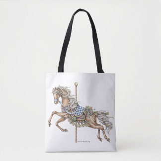 Autumn Carousel Horse Pen and Ink Drawing Tote Bag